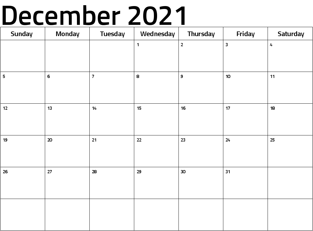 December 2021 Calendar Blank Pages