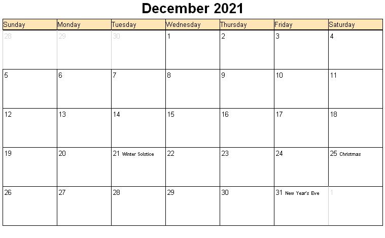 December 2021 Calendar Blank Vertex