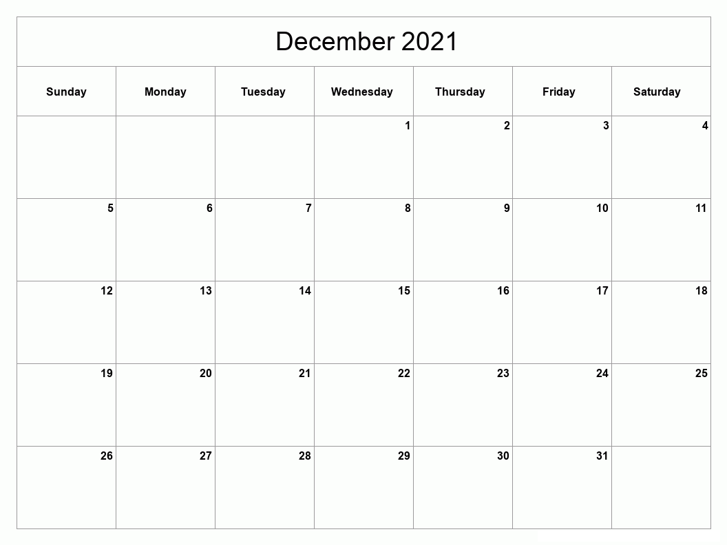 December 2021 Calendar Blank With Events