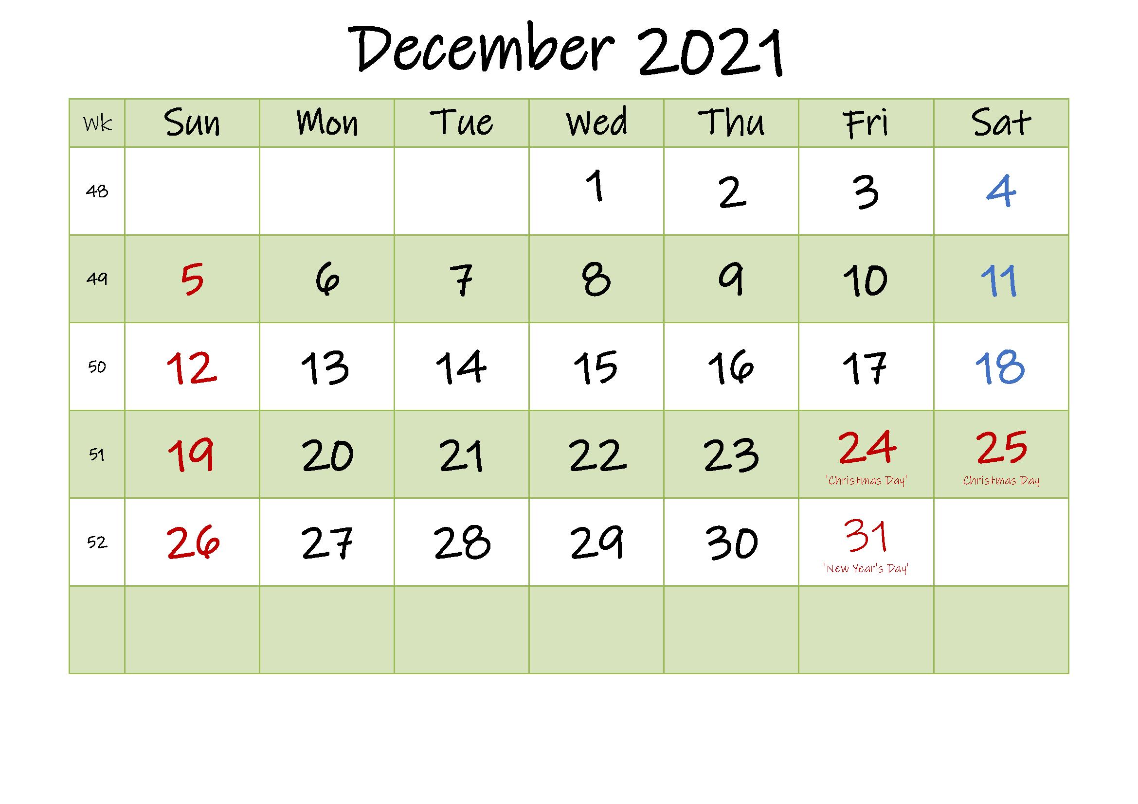 December 2021 Calendar Blank Word Template