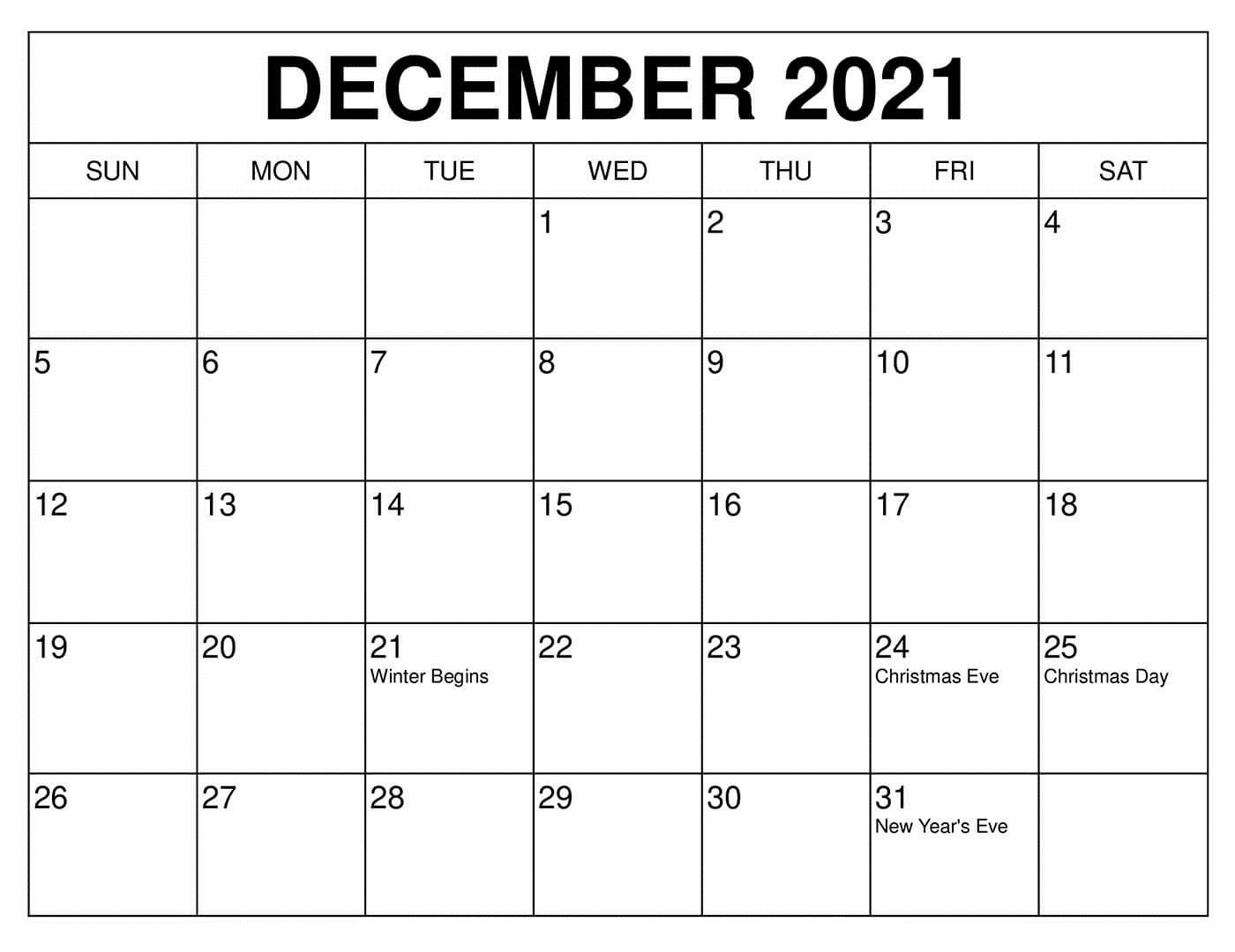 December 2021 Calendar Printable Blank Month