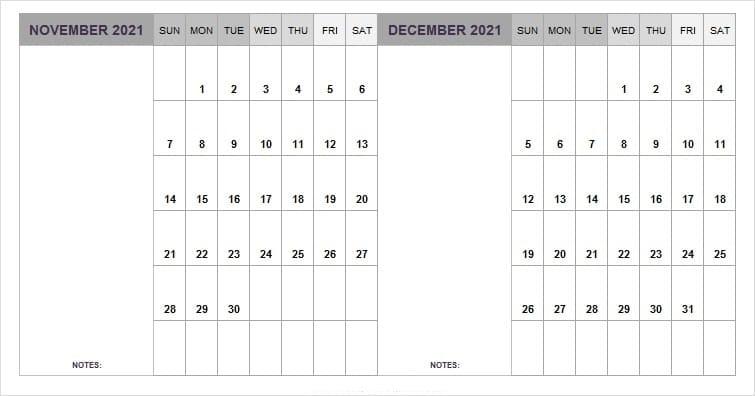 December 2021 Calendar Printable Planner