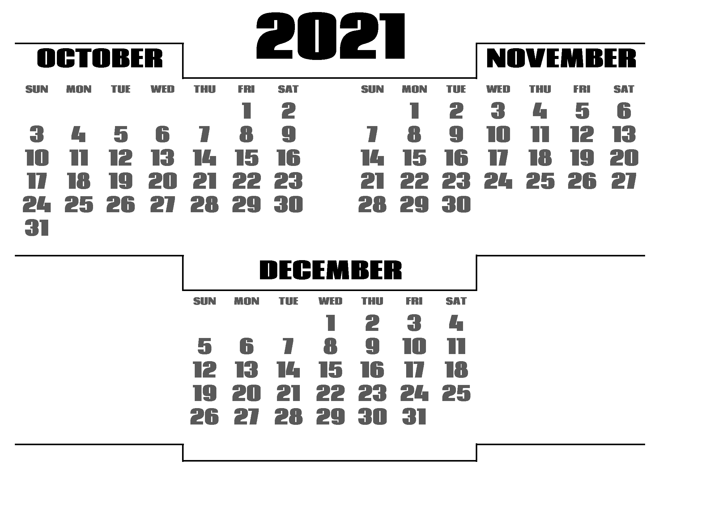 December 2021 Calendar Printable in Excel Grid