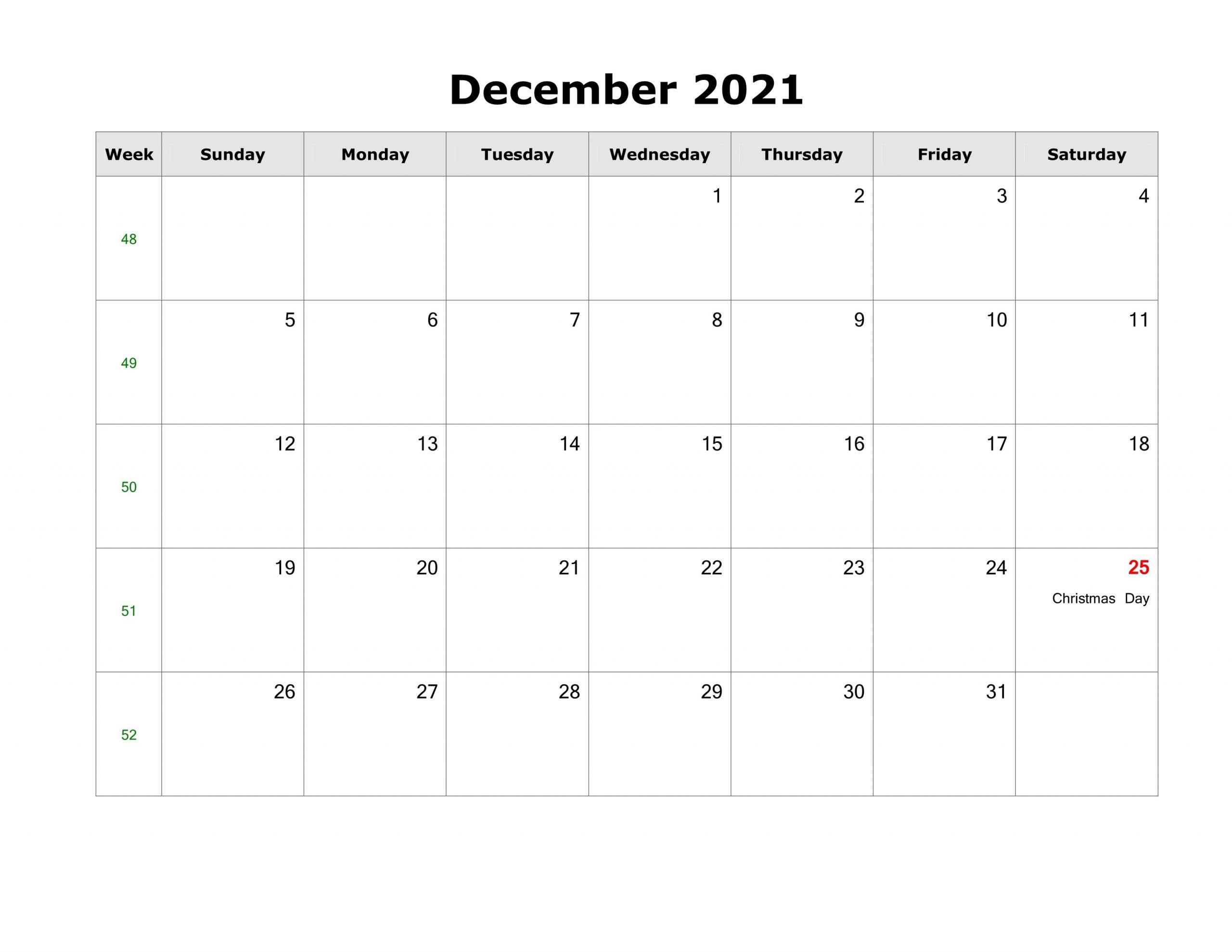 December 2021 Calendar Template Empty Evernote