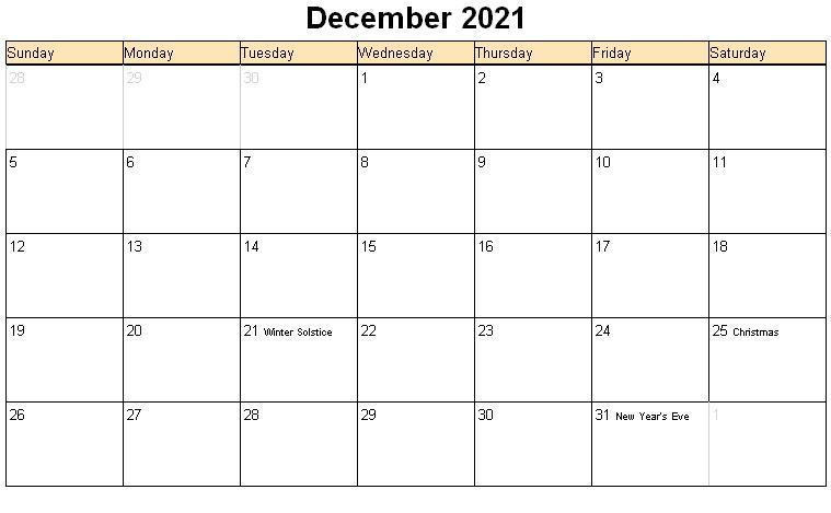 December 2021 Calendar Template Microsoft Word