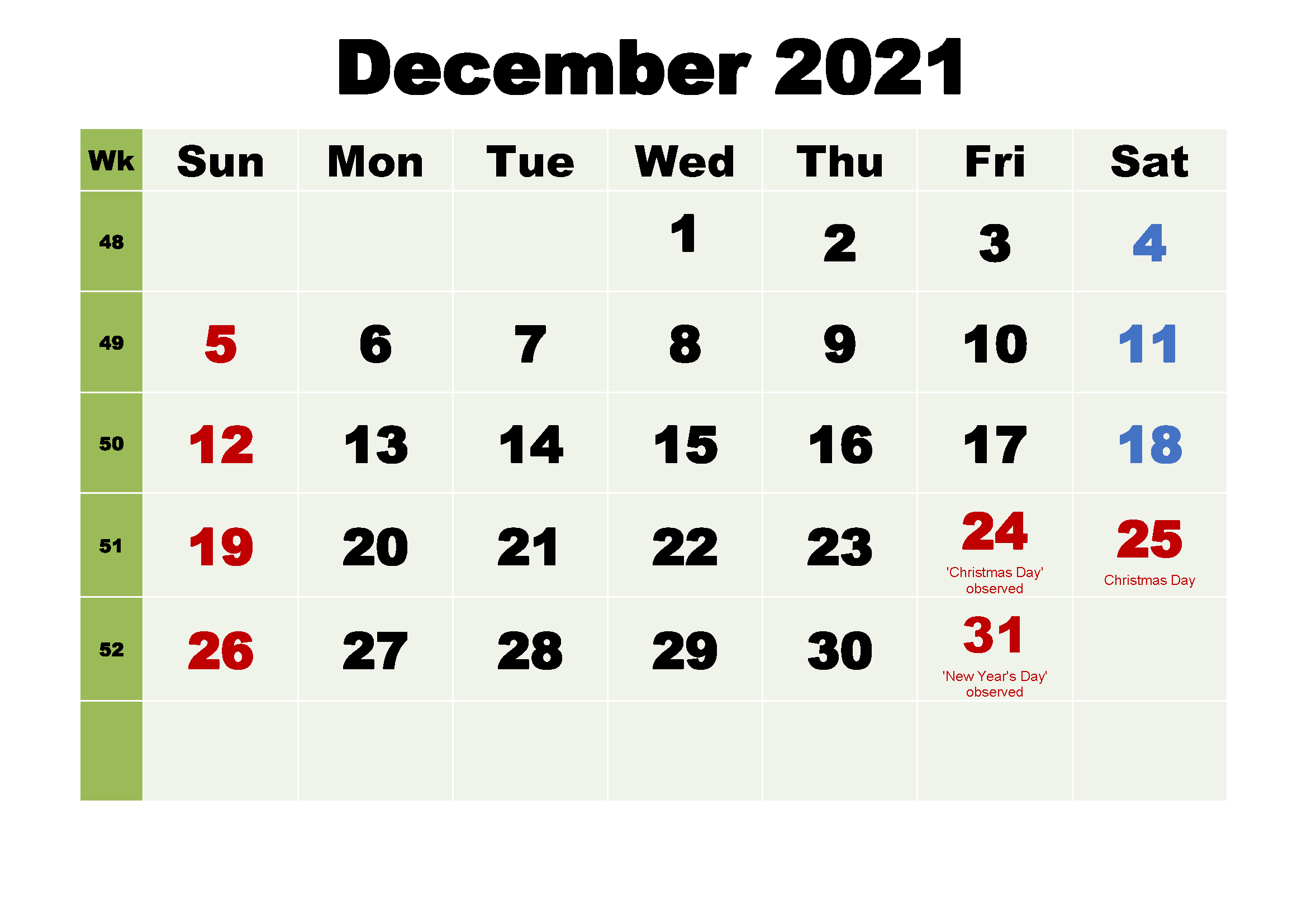 December 2021 Calendar Template Roster Printable