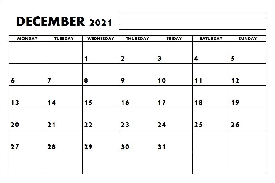 December 2021 Calendar Template for Website