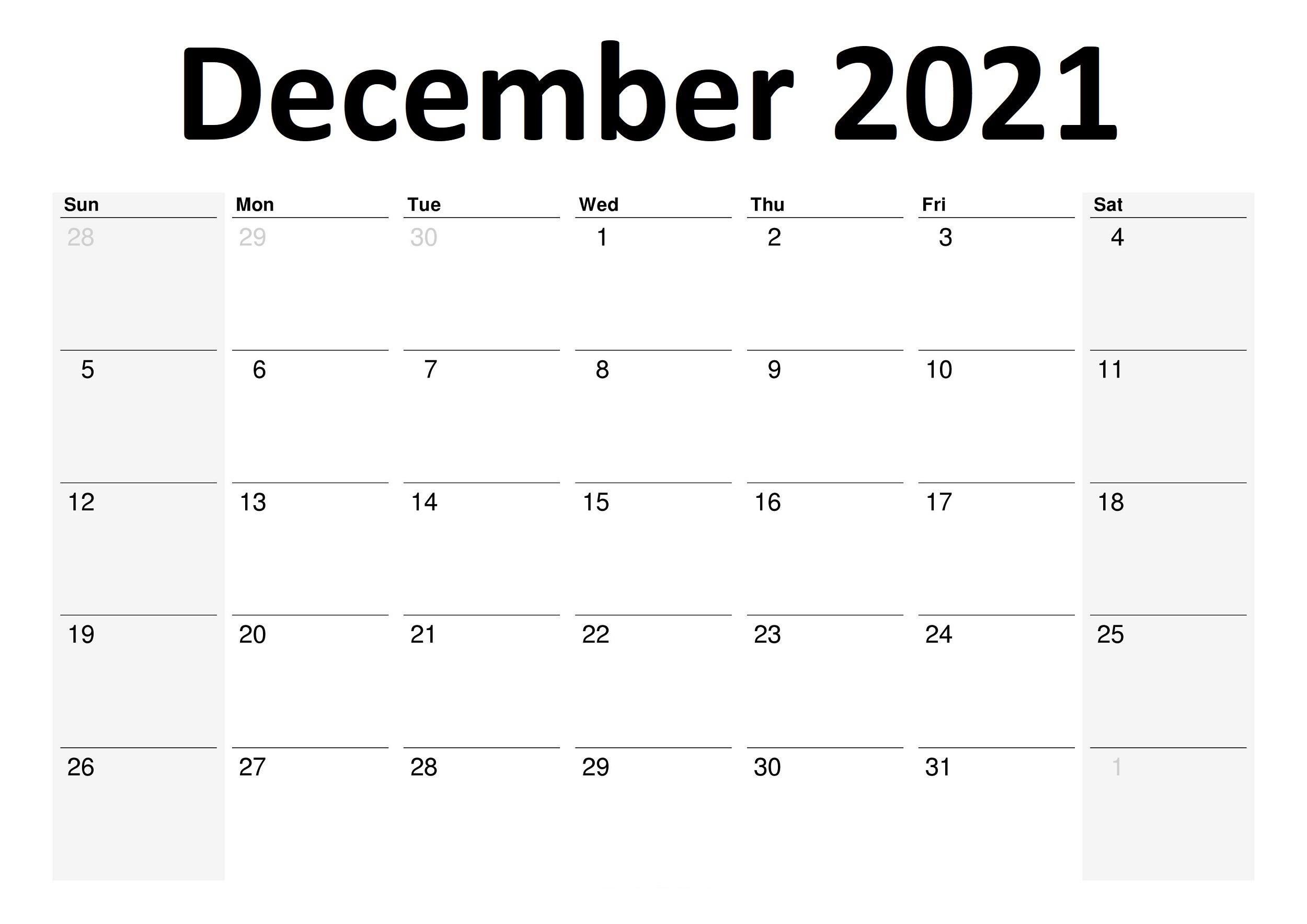 December 2021 Printable Calendar Big Boxes