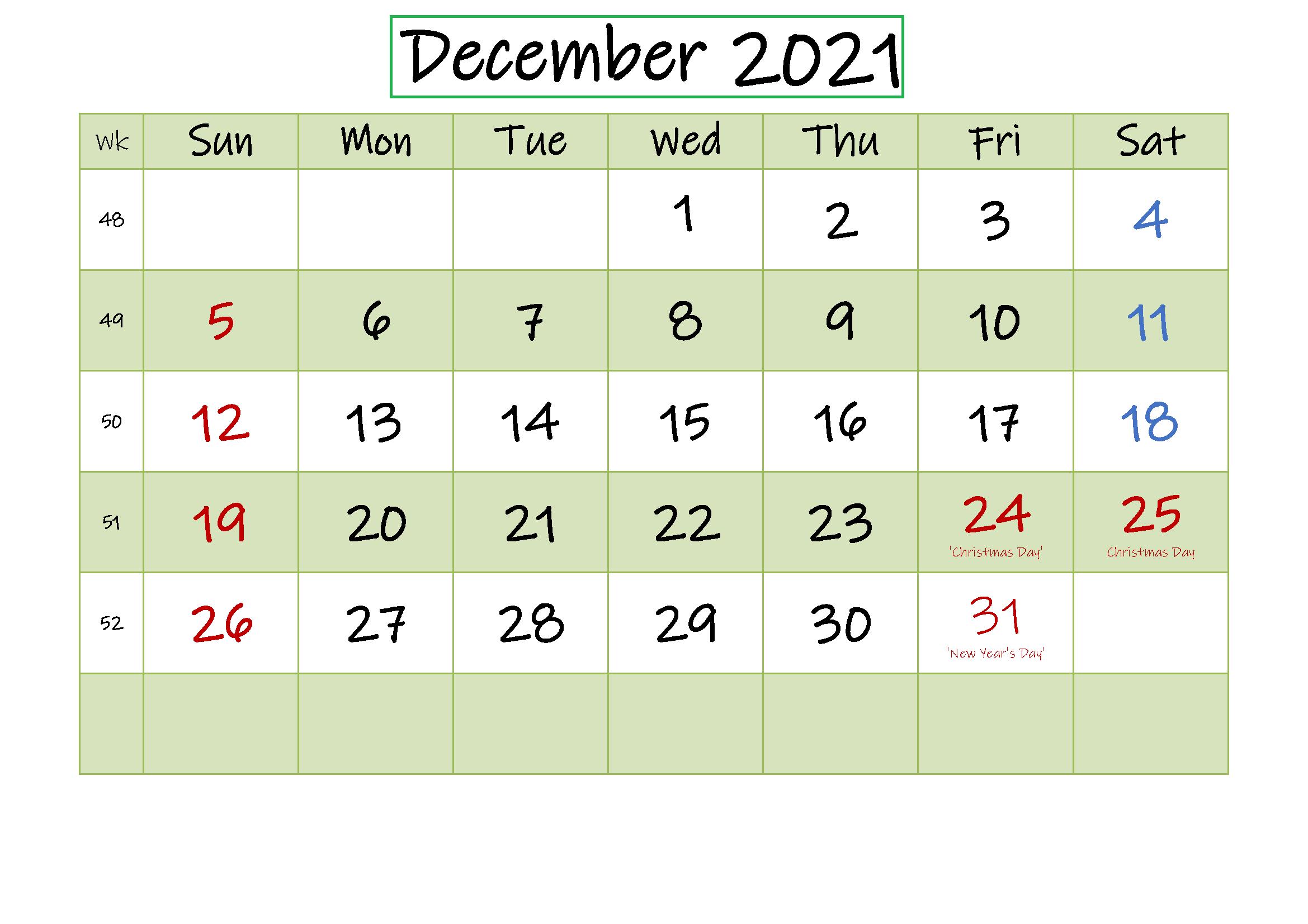 December 2021 Printable Calendar Large Print