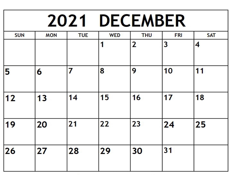 December 2021 Printable Calendar for Student Planner