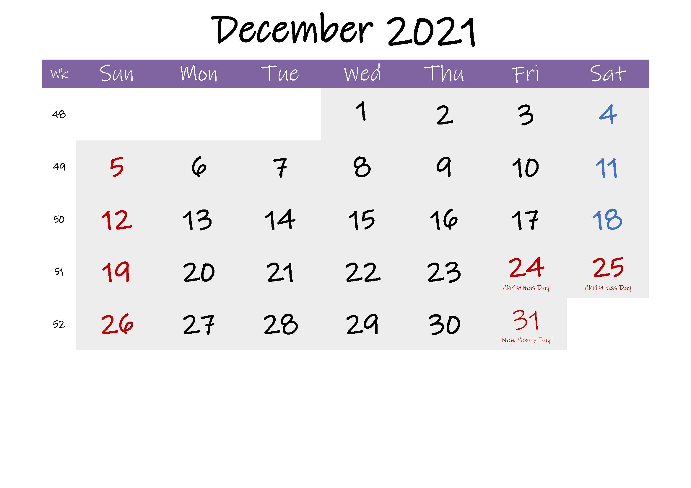 December 2021 Printable Calendar in Spanish