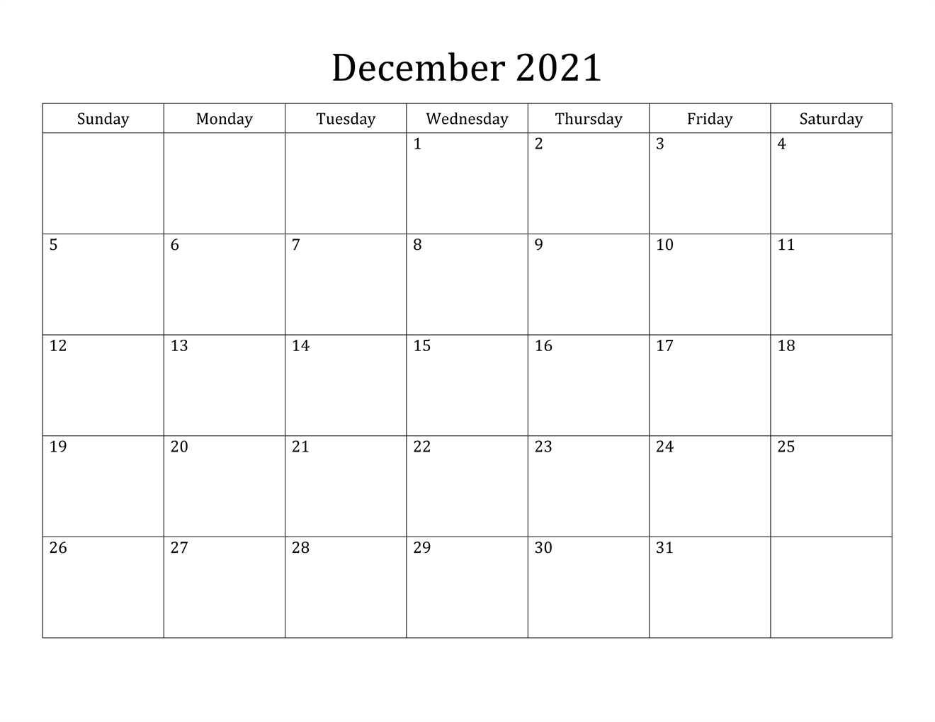 December Calendar 2021 January 2022