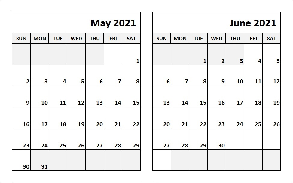 Free June 2021 Calendar Template