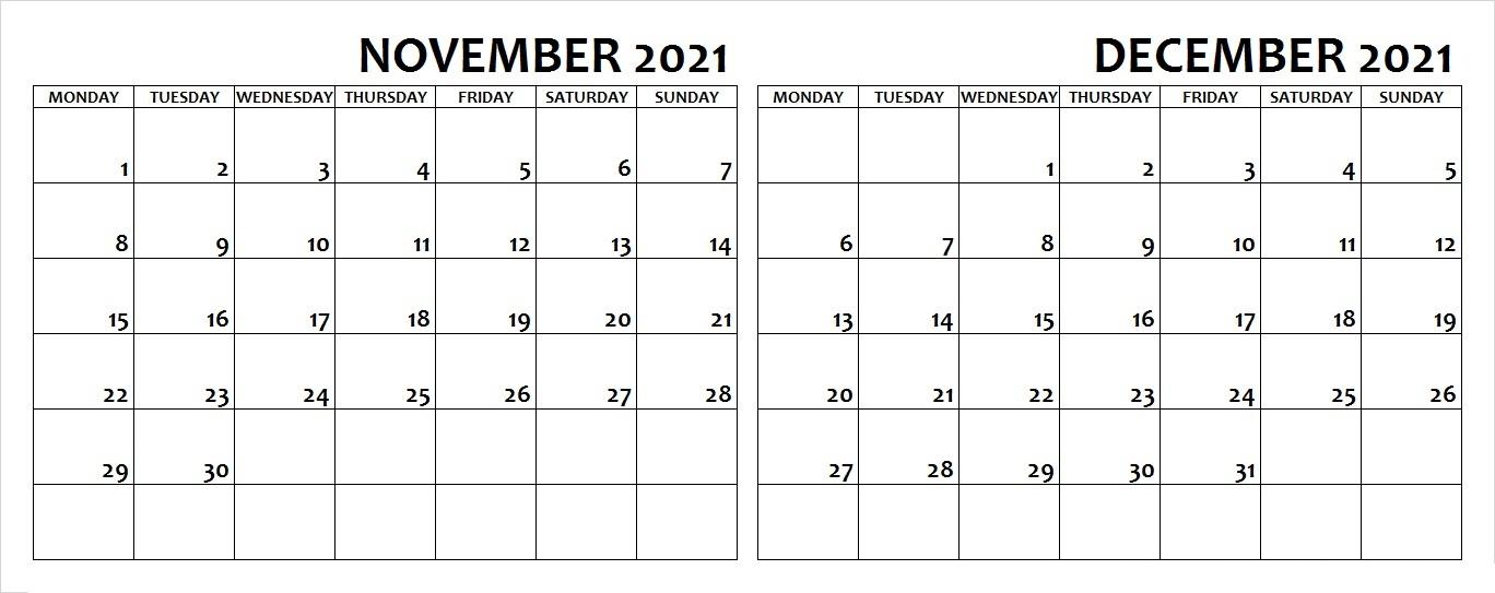 January to December 2021 Calendar With Holidays