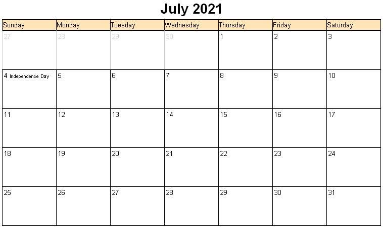 July 2021 Blank Calendar Excel