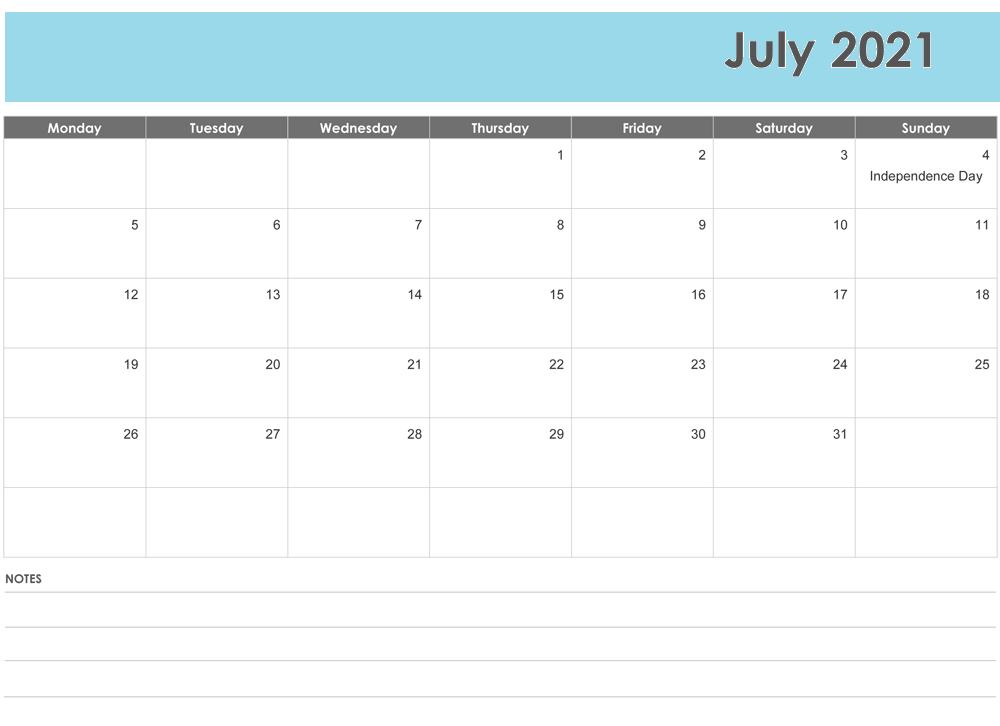 July 2021 Blank Calendar Monthly