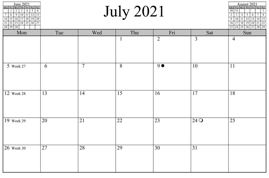 July 2021 Blank Calendar PDF