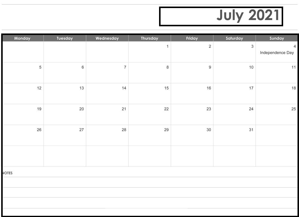 July 2021 Blank Calendar Weekly