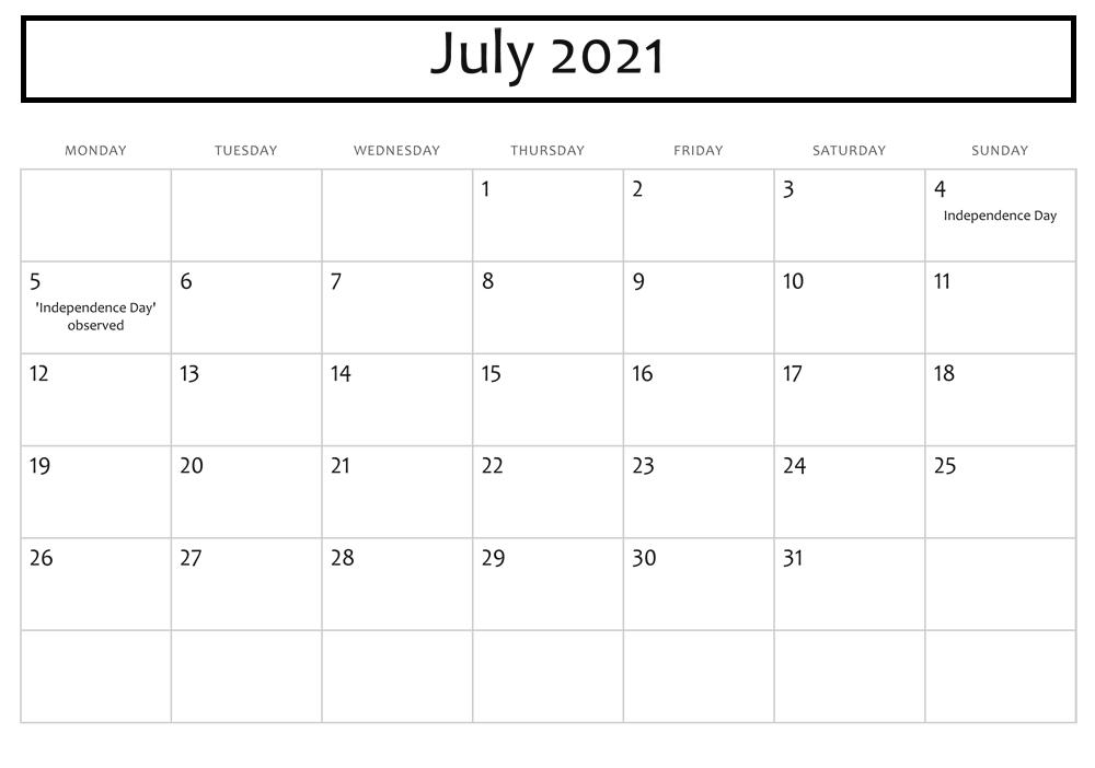 July 2021 Blank Calendar With Holidays
