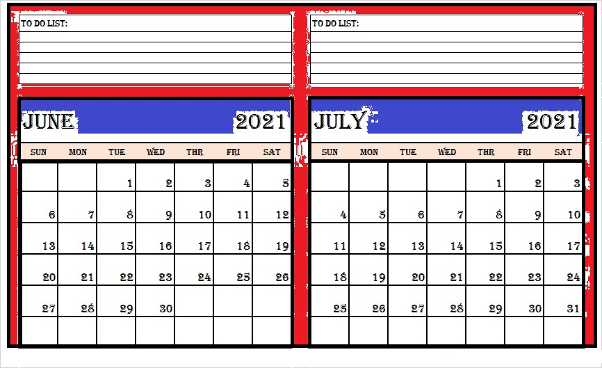 July 2021 Blank Calendar With Notes