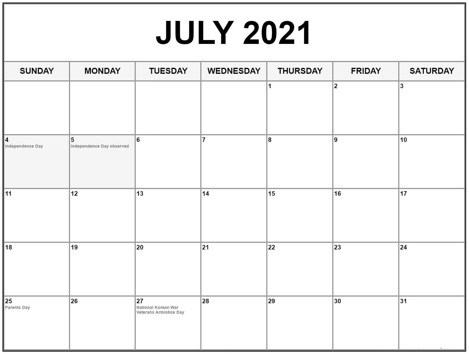 July 2021 Blank Calendar Word