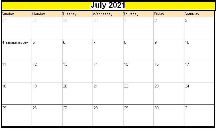 July 2021 Blank Lunar Calendar