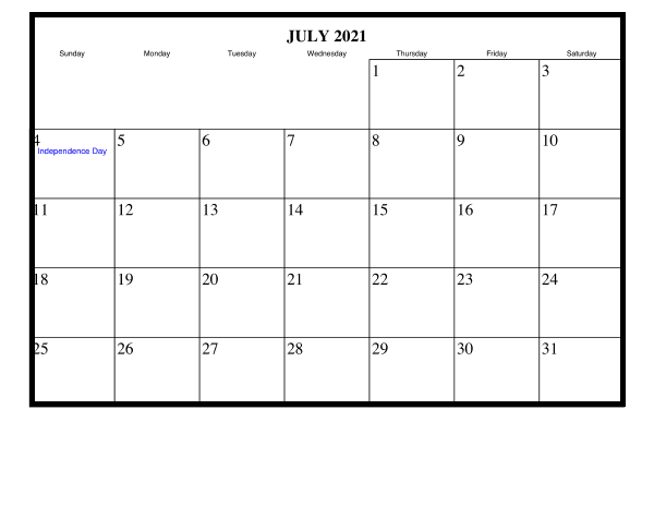 July 2021 Blank Monthly Calendar