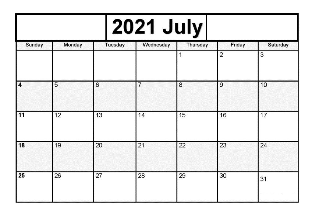July 2021 Blank Printable Calendar