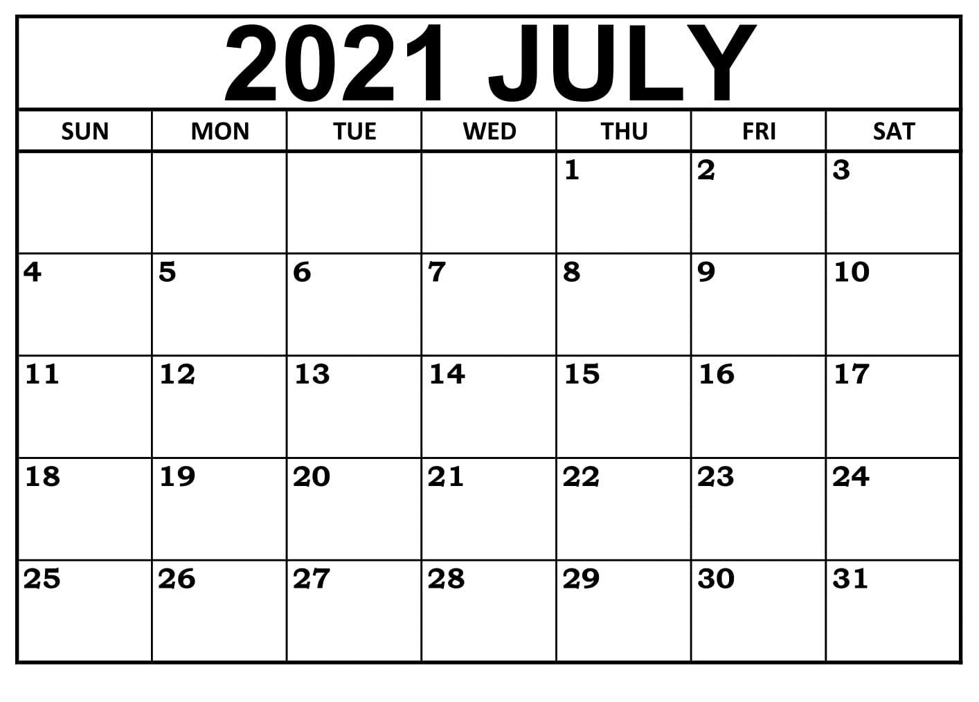 July 2021 Calendar Australia