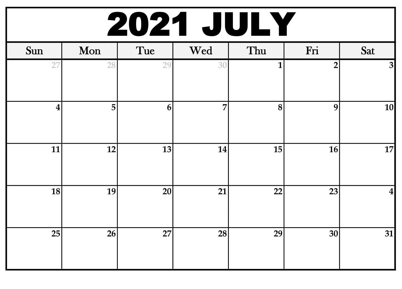 July 2021 Calendar Editable
