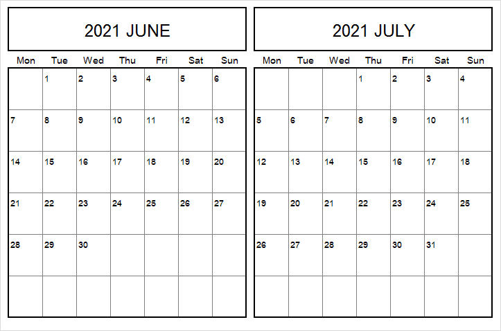July 2021 Calendar Printable Landscape