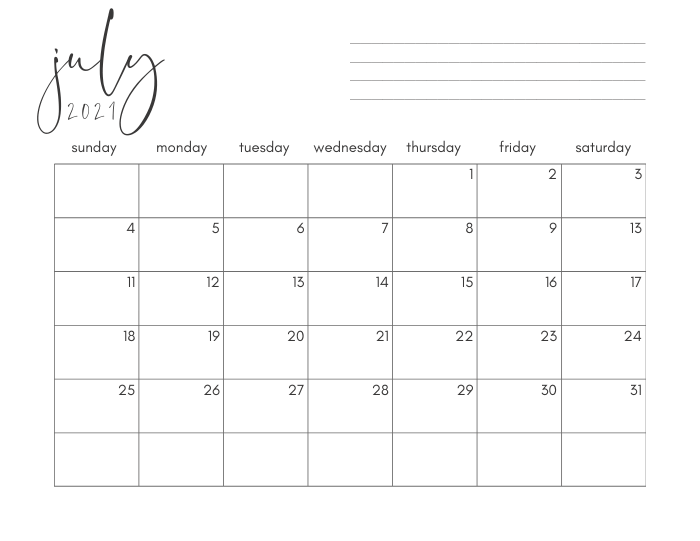 July 2021 Calendar Printable PDF