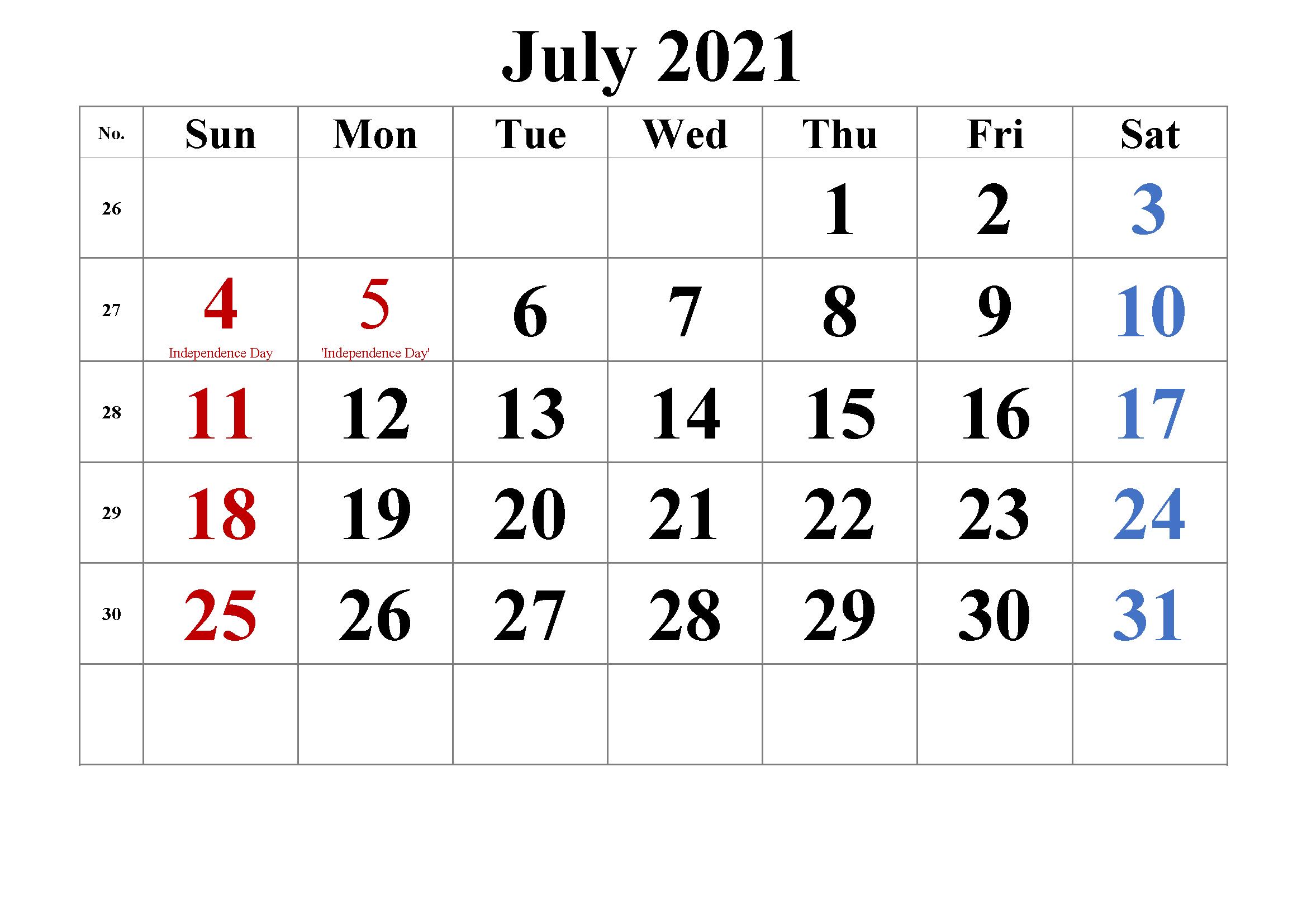 July 2021 Calendar Printable Wiki