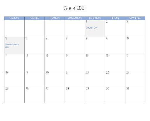 July 2021 Calendar Template Excel