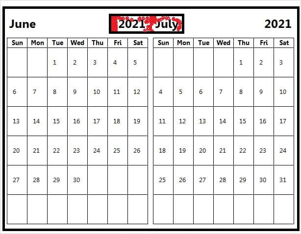 July 2021 Calendar Template Landscape