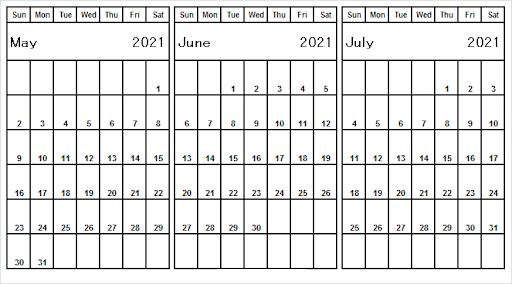July 2021 Calendar Template Word