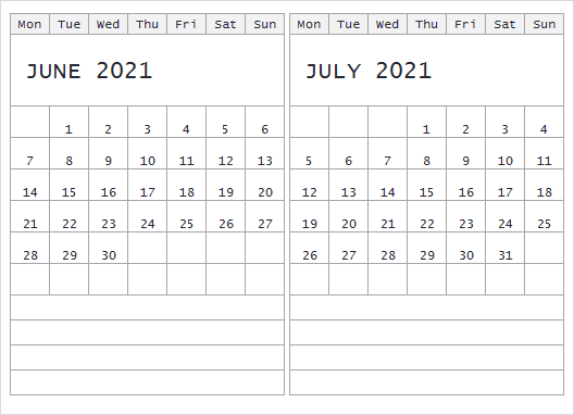 July 2021 Calendar With Holidays & Notes