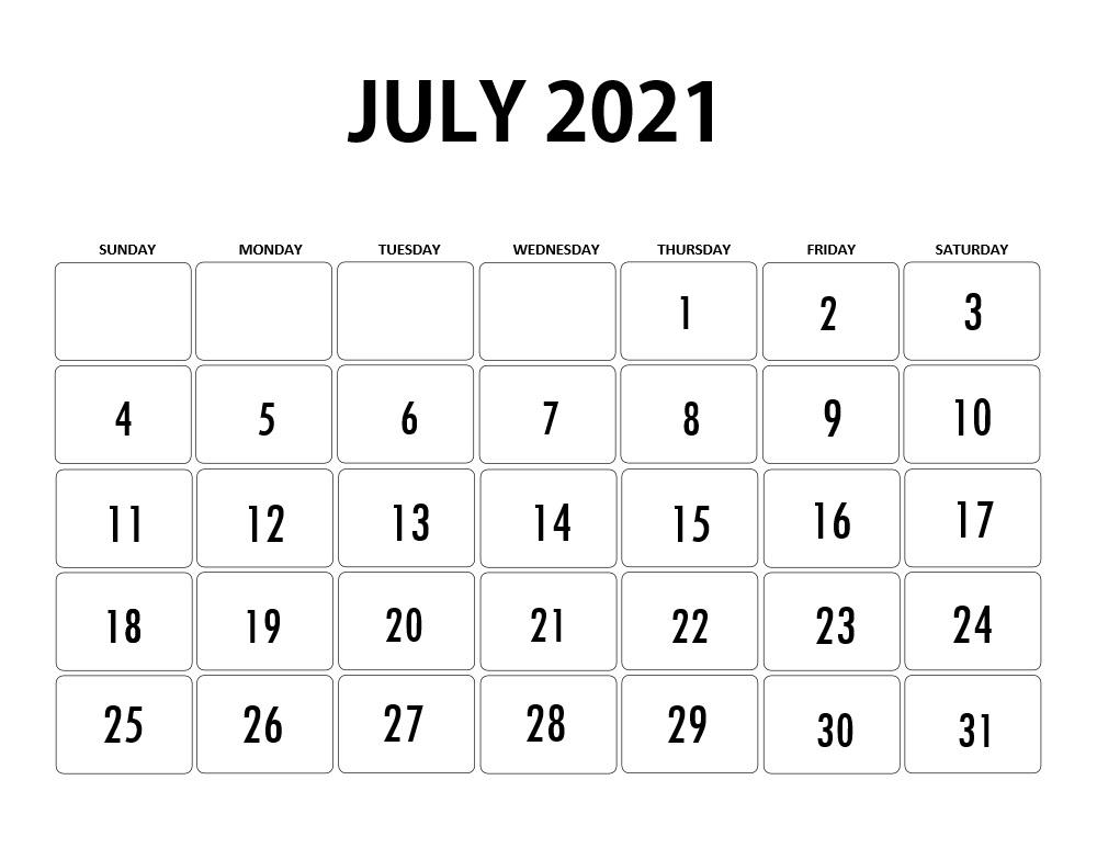 July 2021 Printable Calendar Canada