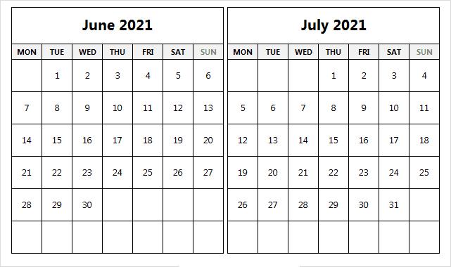 July 2021 Printable Calendar Editable