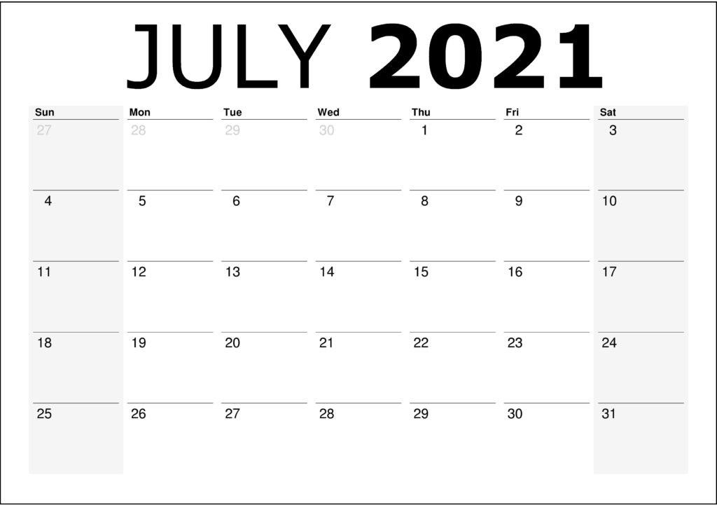 July 2021 Printable Calendar Excel