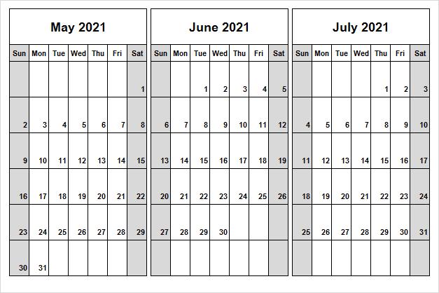 July 2021 Printable Calendar Landscape
