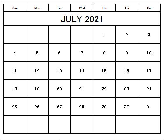 July 2021 Printable Calendar Waterproof