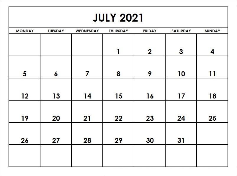 July 2021 Printable Calendar Wiki