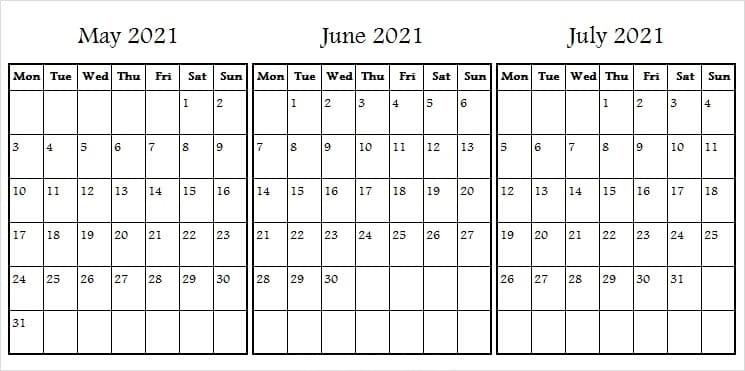 July 2021 to June 2022 Calendar Printable