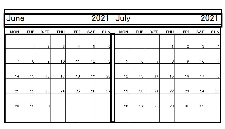 July Calendar Template 2021