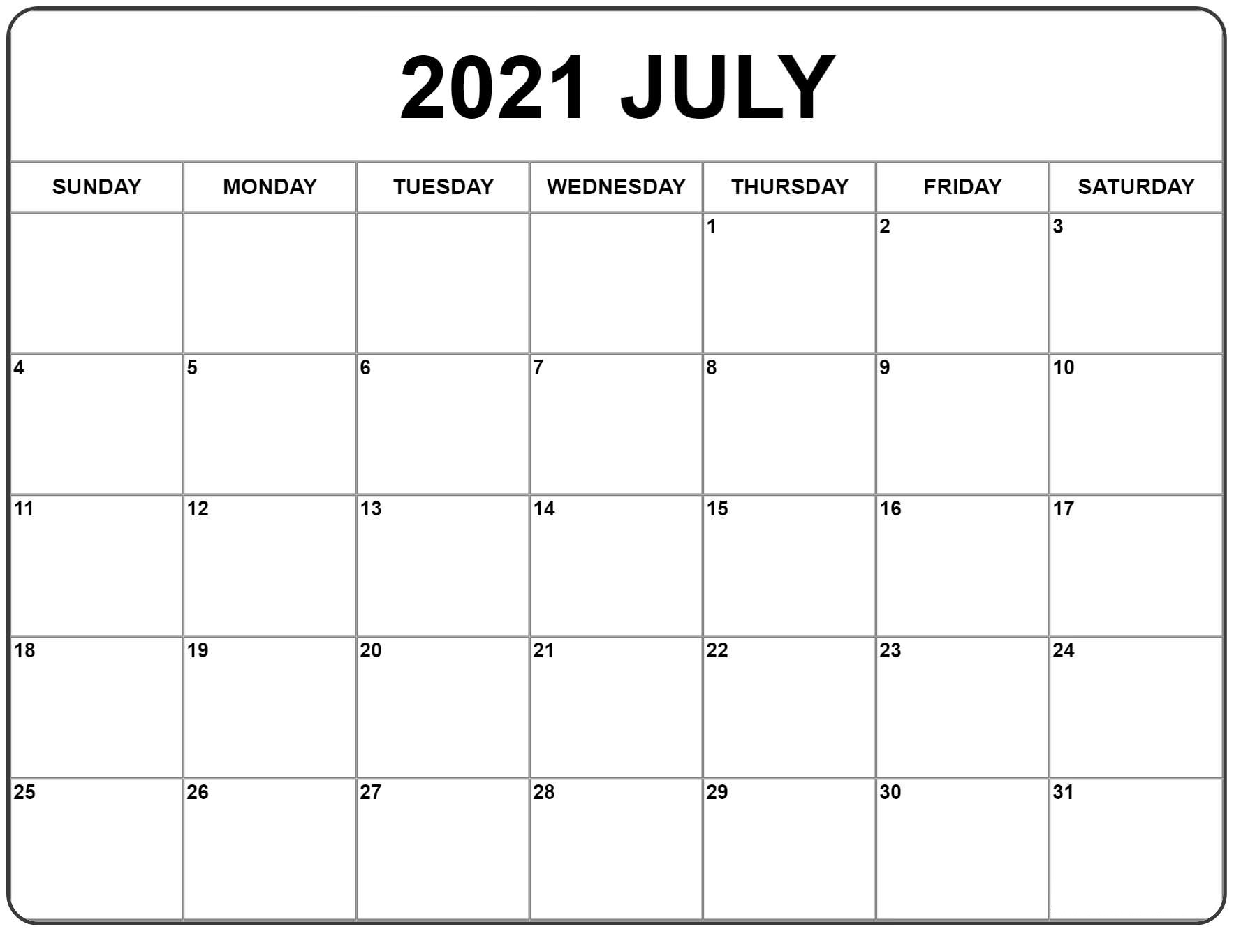 July and August 2021 Printable Calendar
