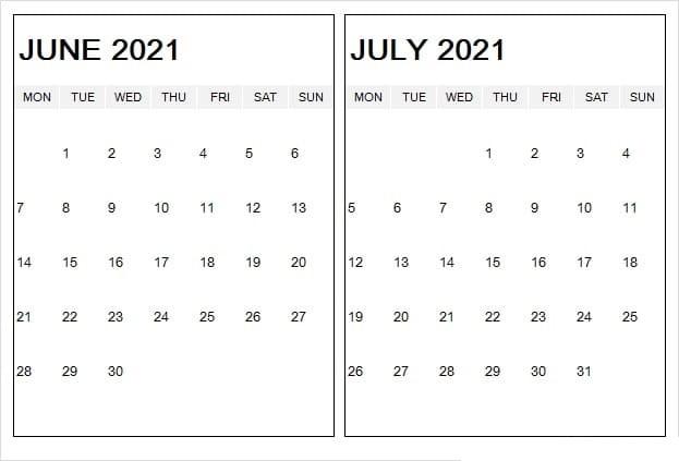 June 2021 Blank Calendar Excel