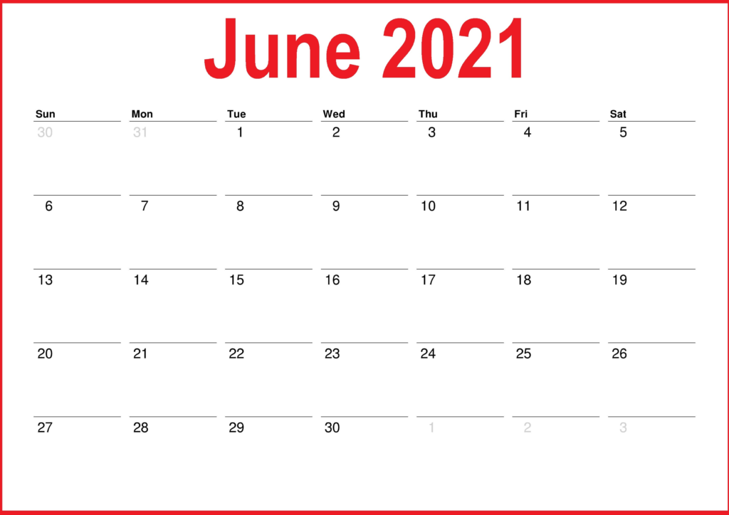 June 2021 Blank Calendar PDF