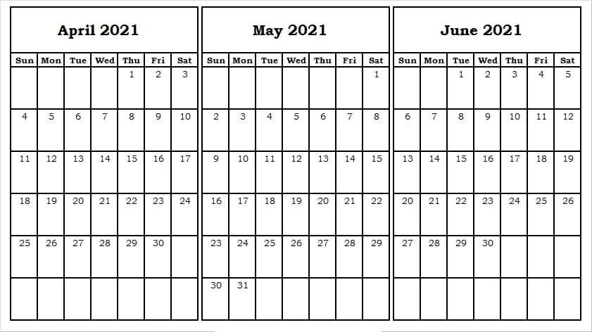 June 2021 Blank Calendar Template