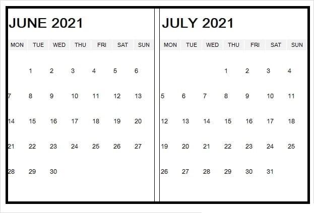 June 2021 Blank Editable Calendar